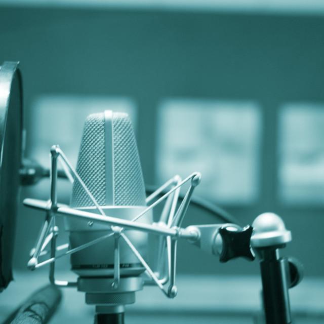 """""""Recording audio studio microphone"""" stock image"""