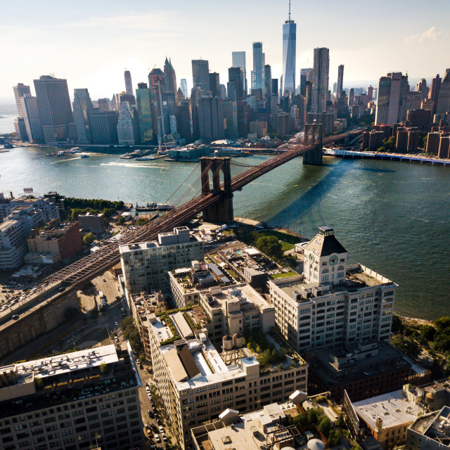 """Manhattan bridge New York city aerial view"" stock image"