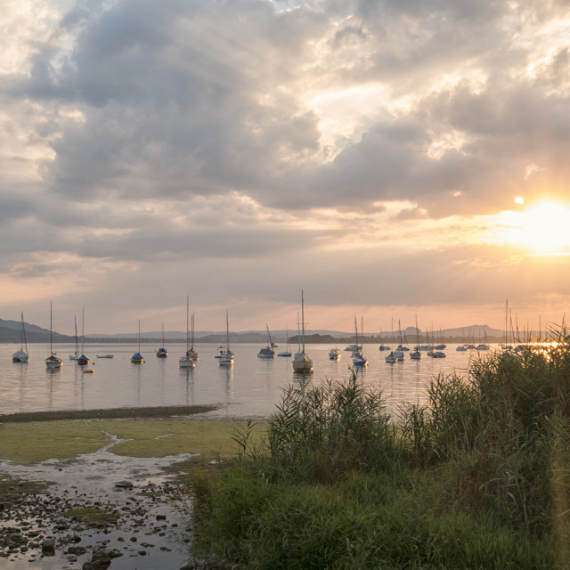 """""""Sunset at Lake Boden with sailboats"""" stock image"""