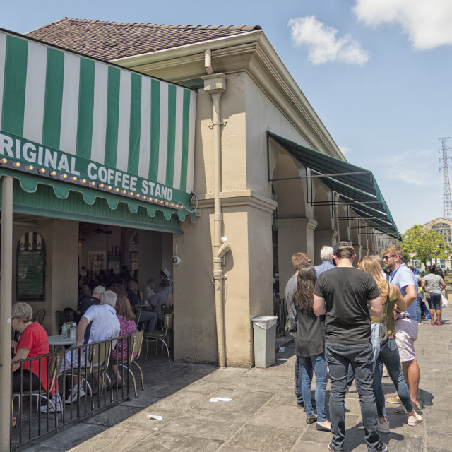 """Queue outside Cafe du Monde in New Orleans"" stock image"