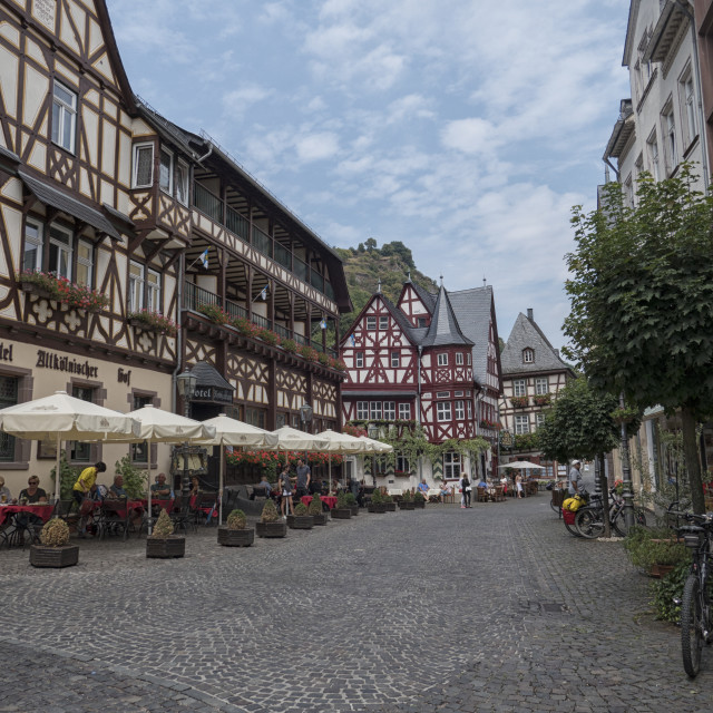 """""""Marketplace of the town of Bacharach on the Rhine River, Rhineland-Palatinate, Germany, Europe"""" stock image"""