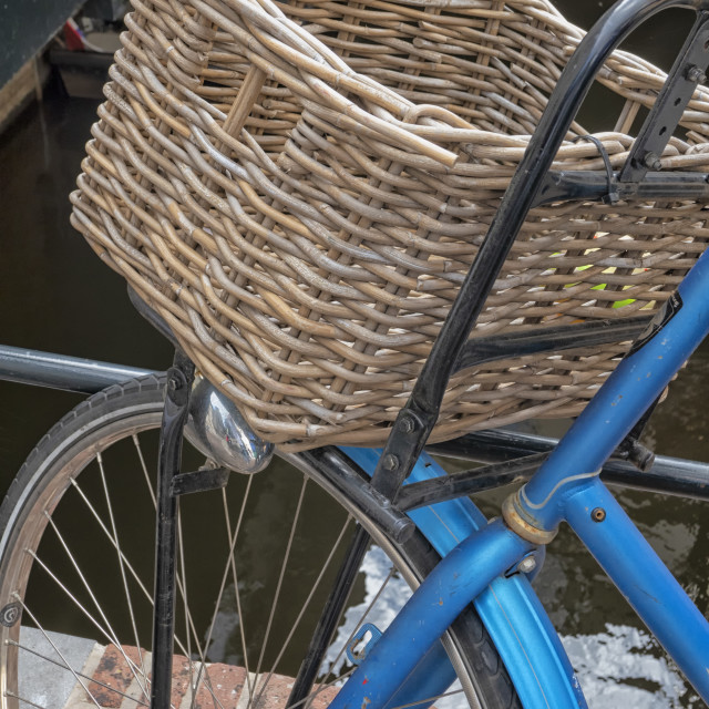 """Basket on blue bike"" stock image"