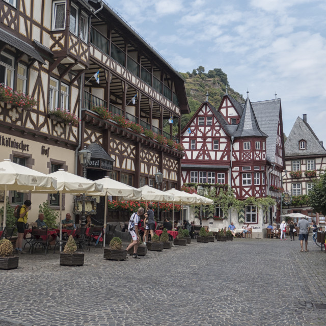 """""""Marketplace Bacharach in Germany"""" stock image"""
