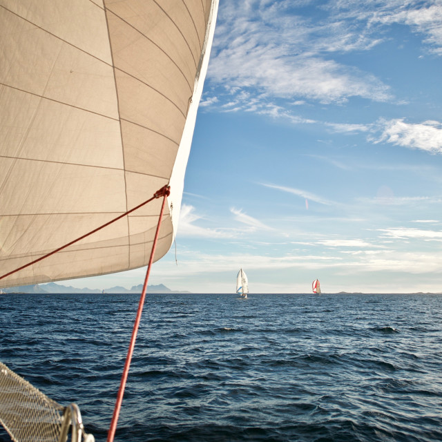 """Sailboats on the ocean"" stock image"
