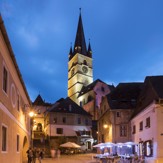 """Sibiu Lutheran Cathedral by Night"" stock image"