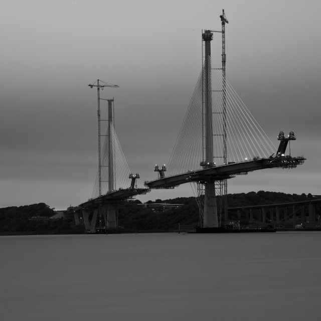 """""""Queensferry Crossing - Under construction"""" stock image"""