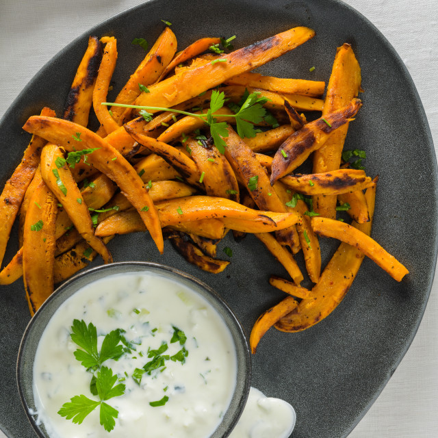 """Crispy sweet potato fries"" stock image"