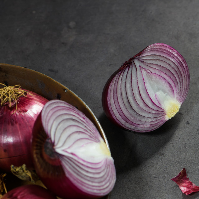"""Fresh whole onions and parsley"" stock image"