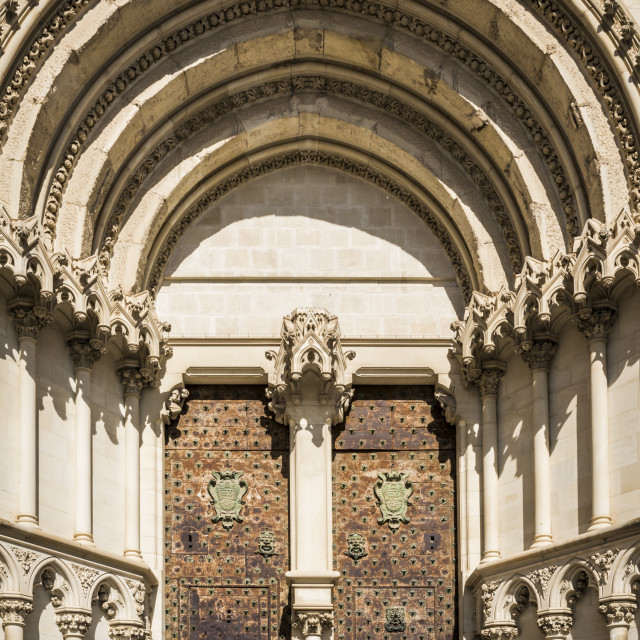 """Ornate entrance of Cuenca Cathedral"" stock image"