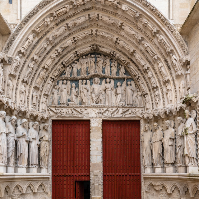 """Door in St Andrew Cathedral in Bordeaux"" stock image"