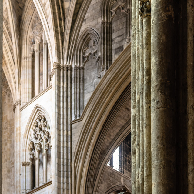 """Interior view of St Andrew Cathedral in Bordeaux"" stock image"