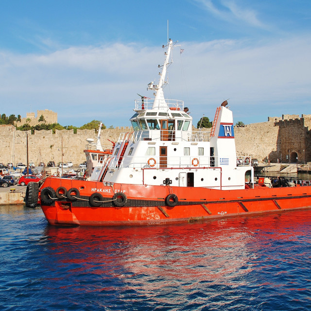 """""""Heracles Star tugboat, Rhodes"""" stock image"""