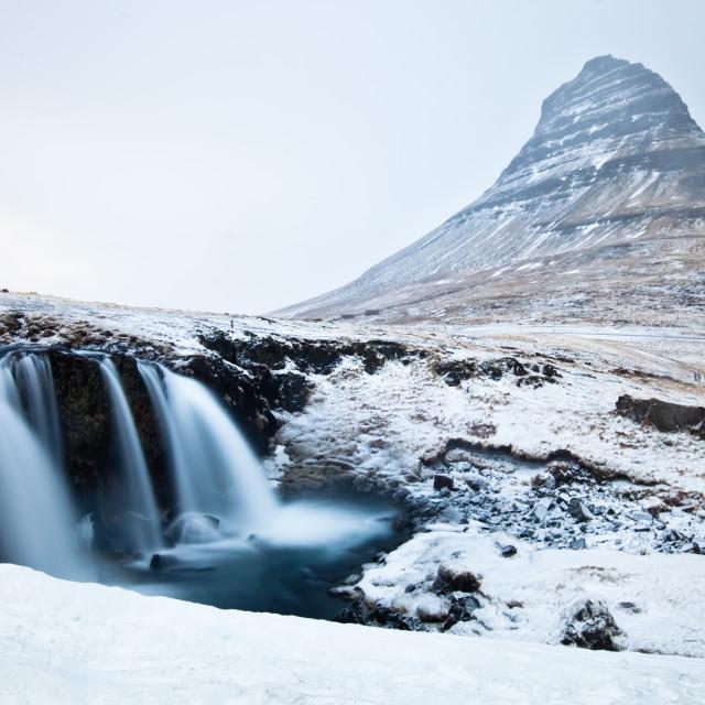"""""""Kirkjufellfoss in winter - kirkjufell - iceland"""" stock image"""