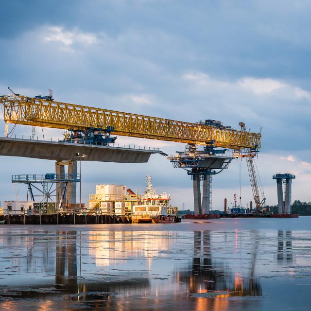 """""""Crown Princess Mary Bridge at night"""" stock image"""