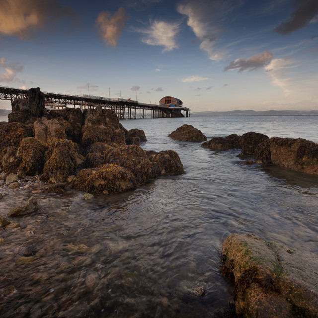 """Rocky foreshore at Mumbles pier"" stock image"