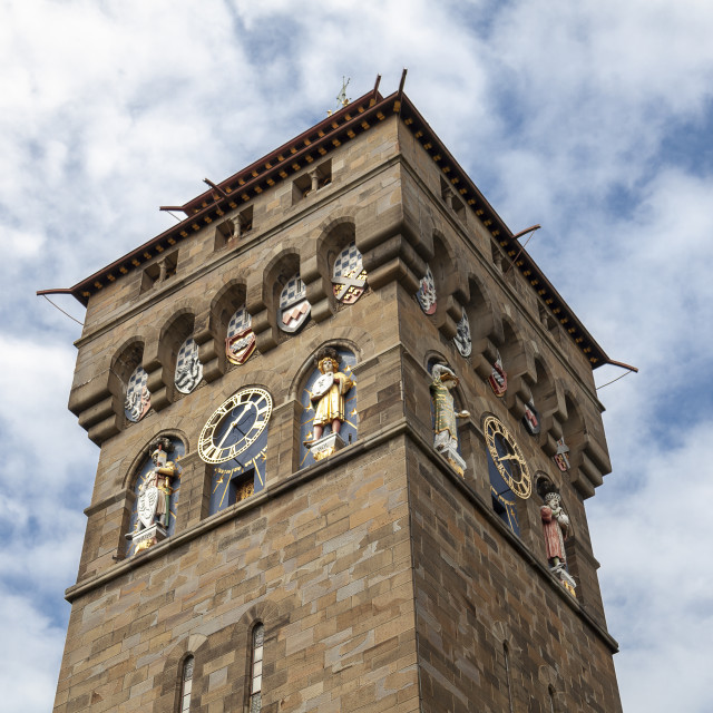 """Cardiff castle clock tower"" stock image"
