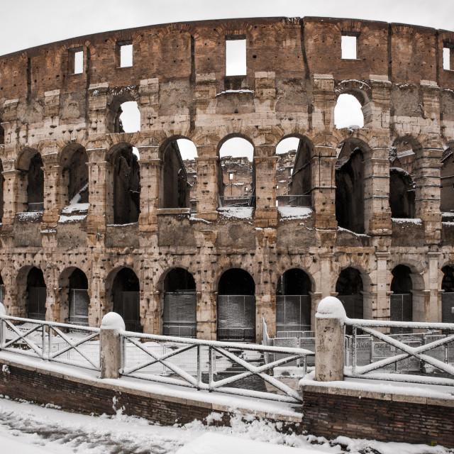 """Rare snow blankets Coliseum"" stock image"