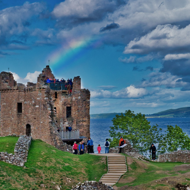 """Rainbow over Urquhart Castle"" stock image"