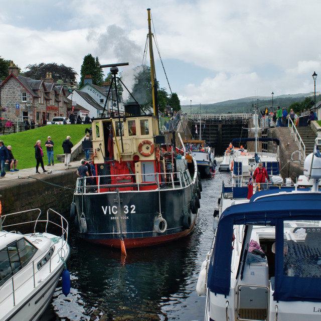 """Fort Augustus Locks on the Caledonian Canal"" stock image"