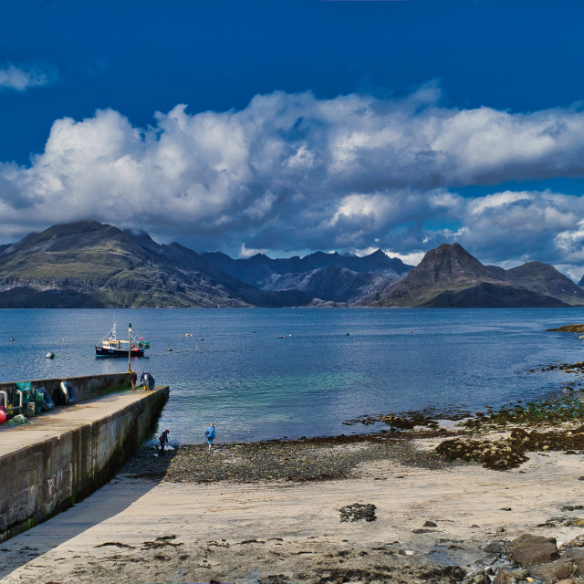 """The Cuillins viewed from Elgol"" stock image"