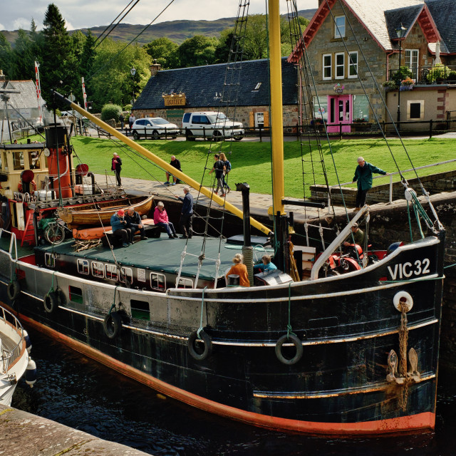 """A steam puffer in Fort Augustus Locks"" stock image"
