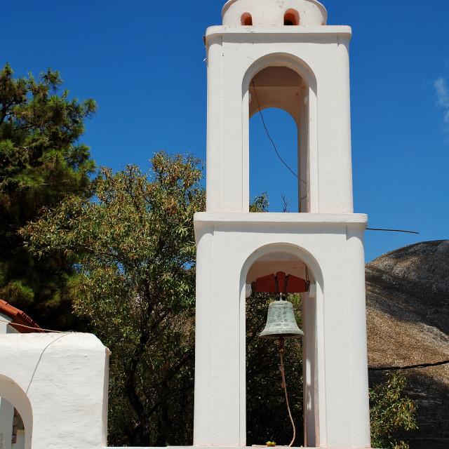 """Archangel Michael bell tower, Tilos"" stock image"