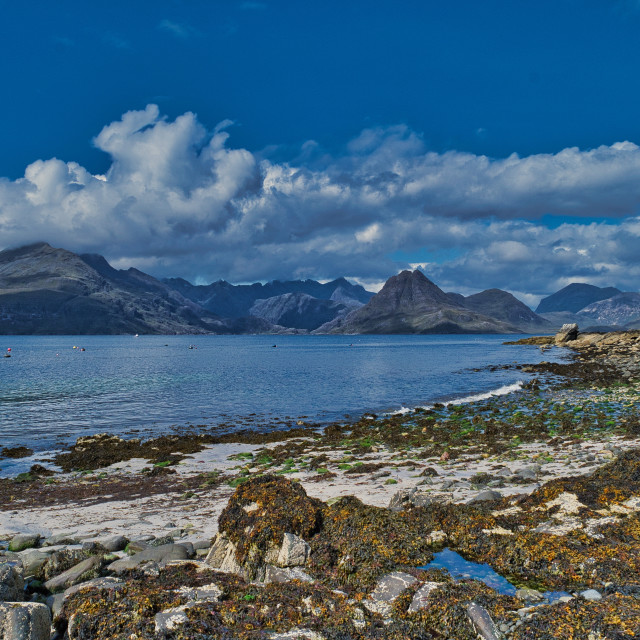"""The Cuillins viewed from Elgol beach"" stock image"