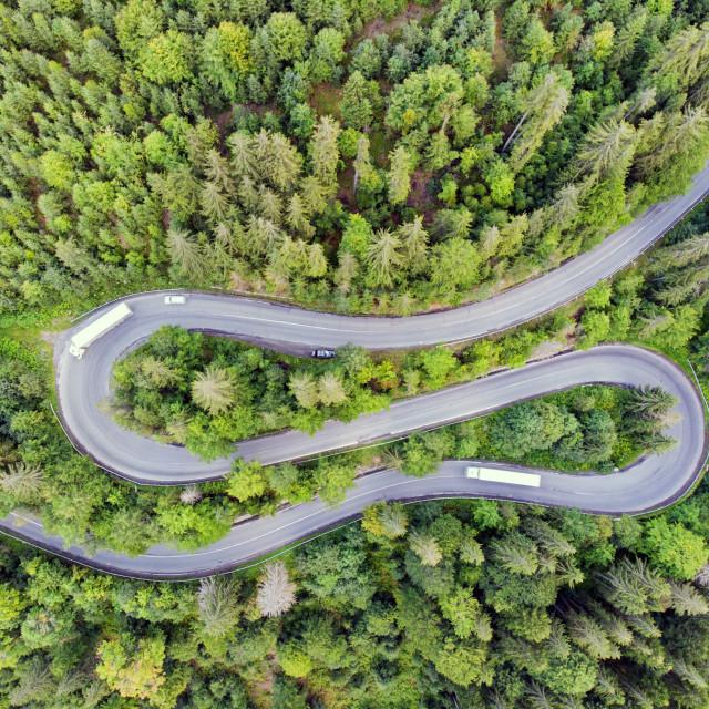 """Winding mountain pass road"" stock image"