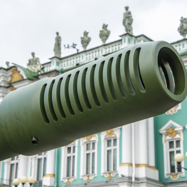 """The barrel of an artillery gun in the background of the Winter P"" stock image"