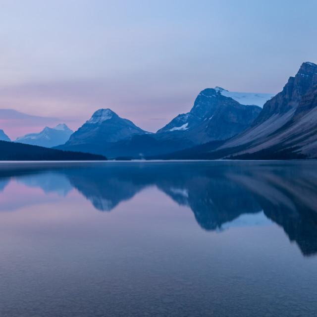 """""""Smoky Morning at Bow Lake"""" stock image"""