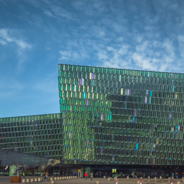 """Reflections in Harpa"" stock image"