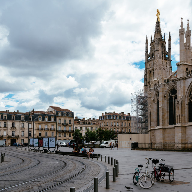 """View of St Andrew Cathedral in Bordeaux"" stock image"