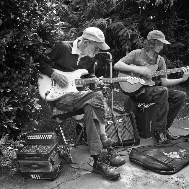 """Buskers on the guitars"" stock image"