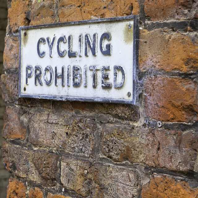 """'Cycling Prohibited' sign"" stock image"