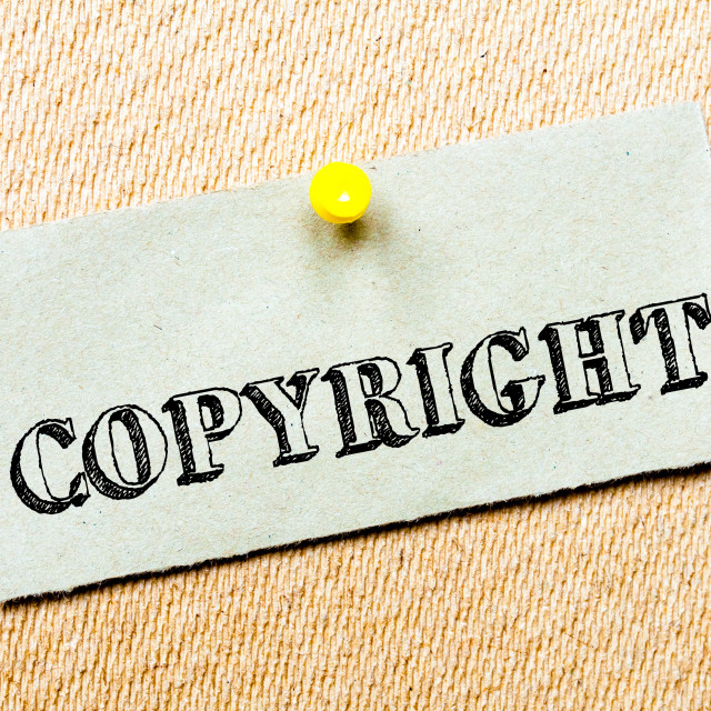 """""""Recycled paper note pinned on cork board. Copyright Message. Concept Image"""" stock image"""