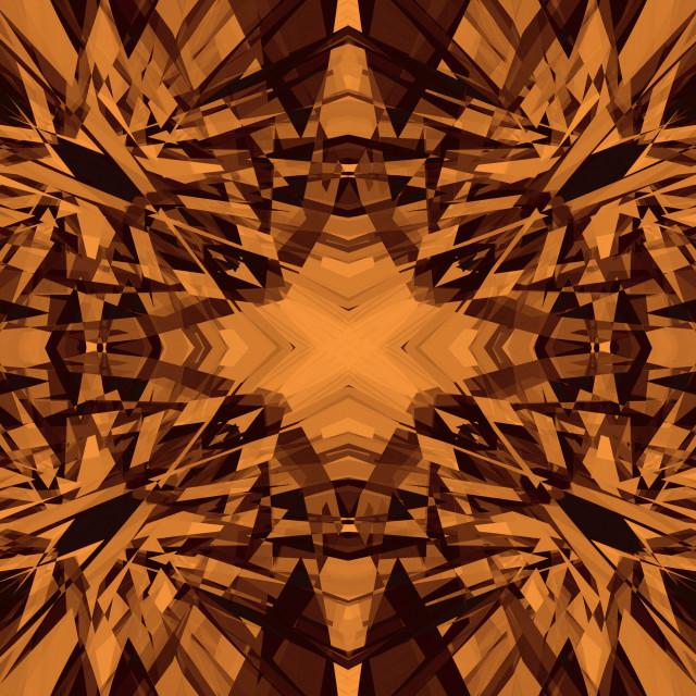 """Orange and black kaleidoscope pattern"" stock image"