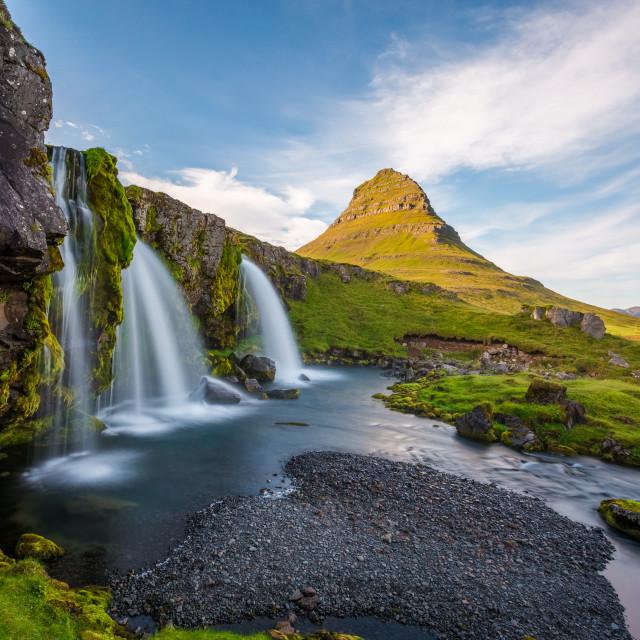 """Kirkjufell Mountain,Iceland, Snaefellsnes peninsula landscape wi"" stock image"