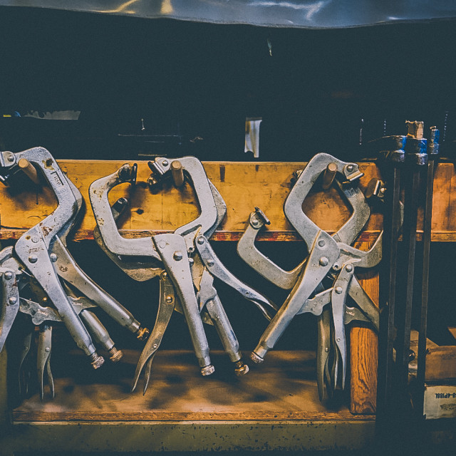 """Clamps at the ready"" stock image"