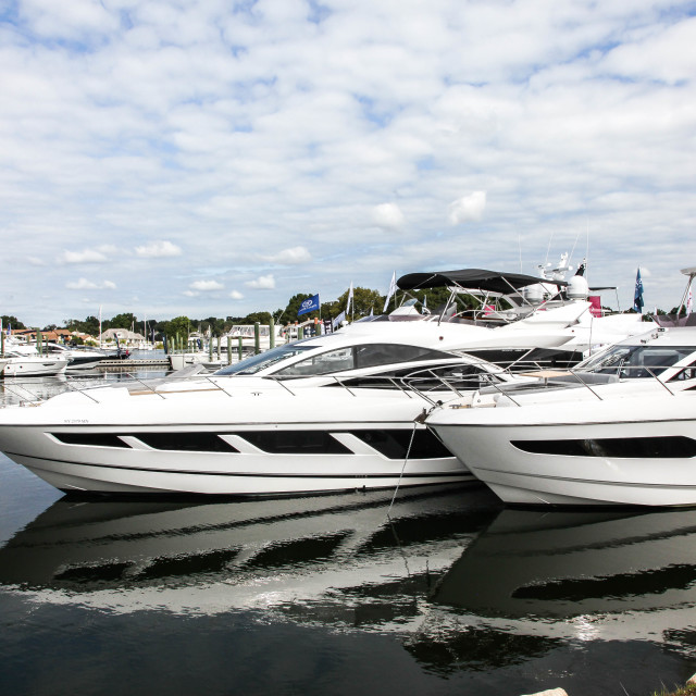 """Boats docking and displayed on Progressive Norwalk Boat Show"" stock image"
