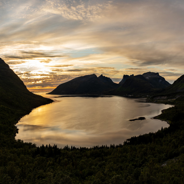 """""""Panoramic view from Bergsbotn"""" stock image"""