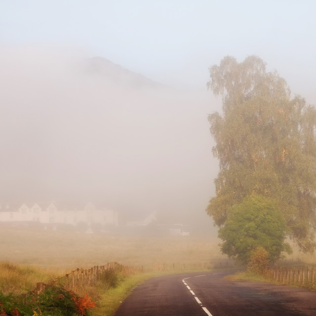 """""""The Way to Never Never Land. Misty Roads of Scotland"""" stock image"""