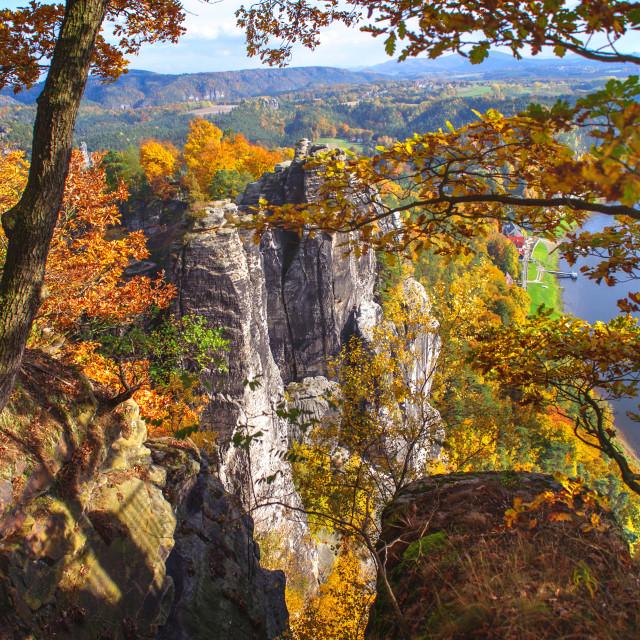 """Autumnal Frame. Saxon Switzerland"" stock image"
