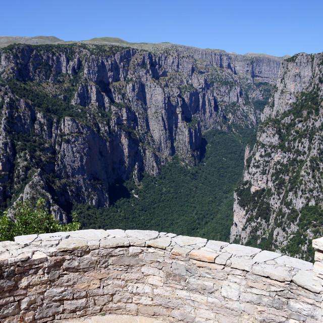 """viewpoint Vikos gorge landscape Zagoria Greece"" stock image"