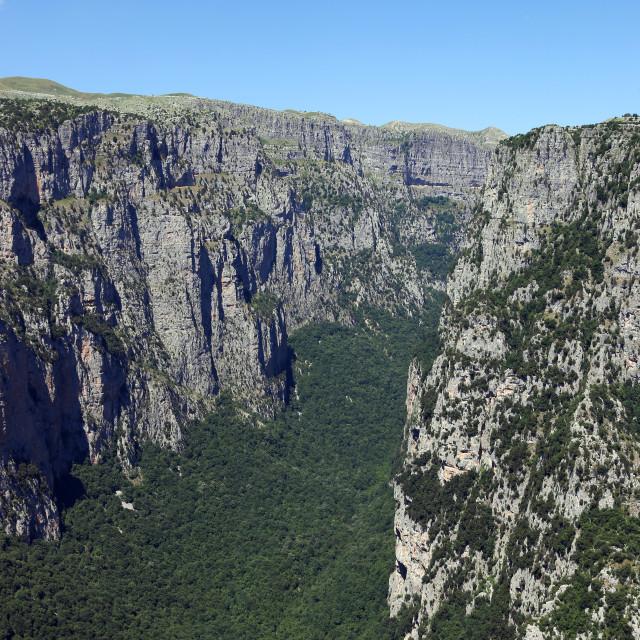 """Vikos gorge landscape Zagoria Pindos mountain Greece"" stock image"