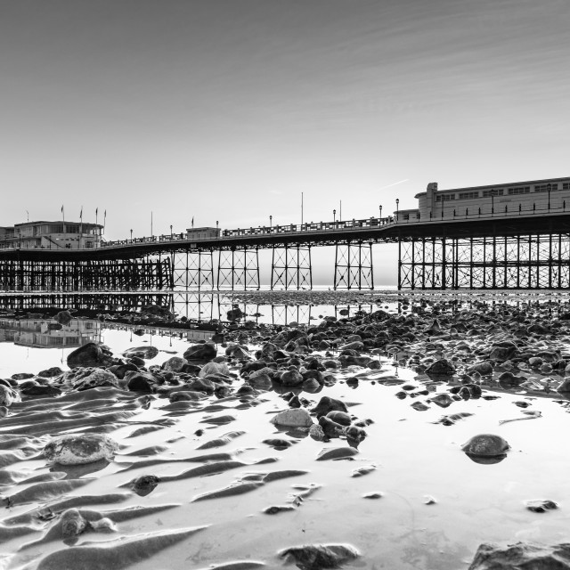 """""""Worthing Pier at Sunset and Low Tide"""" stock image"""