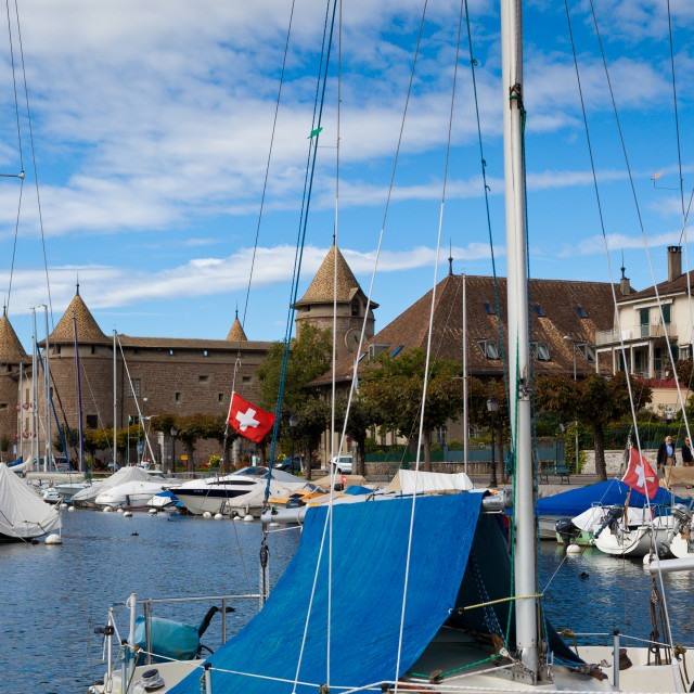 """""""The former fortress and castle of Morges located by the marina o"""" stock image"""