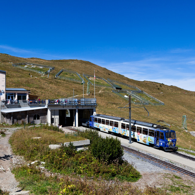 """""""Cog railway train at station of Rochers-de-Naye close to summit"""" stock image"""