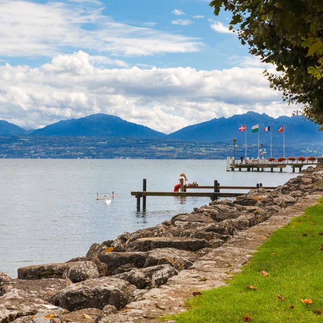 """""""Morges, Lake Geneva, Switzerland, Europe"""" stock image"""