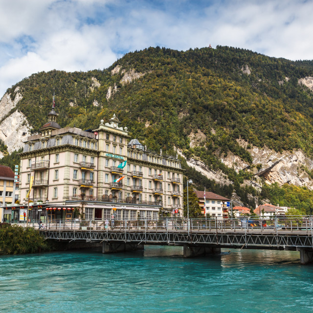 """""""Hotel Central Continetal by the River Aare in Interlaken, Switze"""" stock image"""