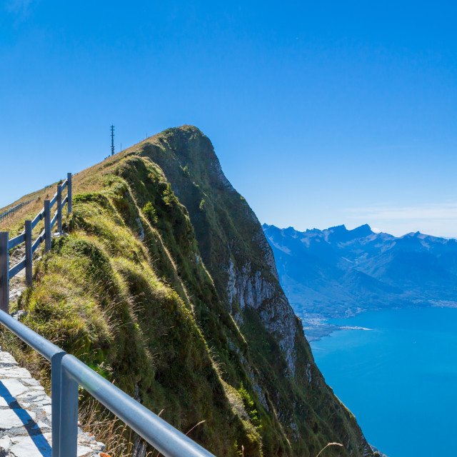 """""""Viewpoint from mountain of Rochers-de-Naye overlooking Lake Gene"""" stock image"""